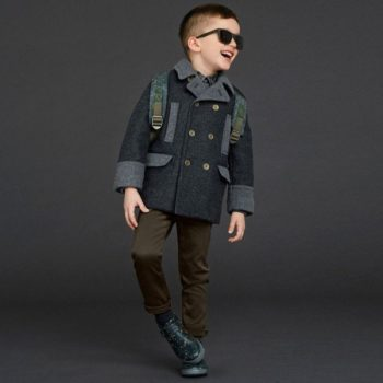 DOLCE & GABBANA Boys Grey Wool Coat with Green Puffer Back