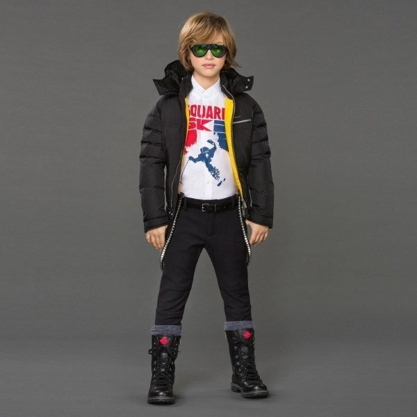 DSQUARED2 Boys Black Down Padded Jacket with Hood