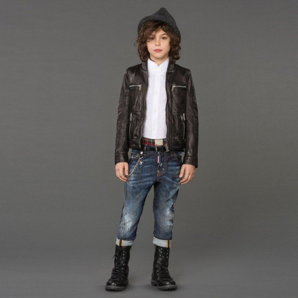 DSQUARED2 Boys Black Leather Biker Jacket