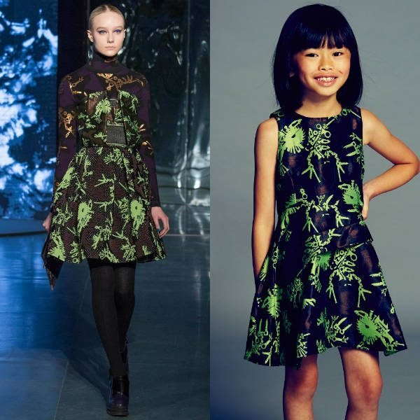 Kenzo Girls Mini Me Green Black 'Monsters' Jacquard Dress