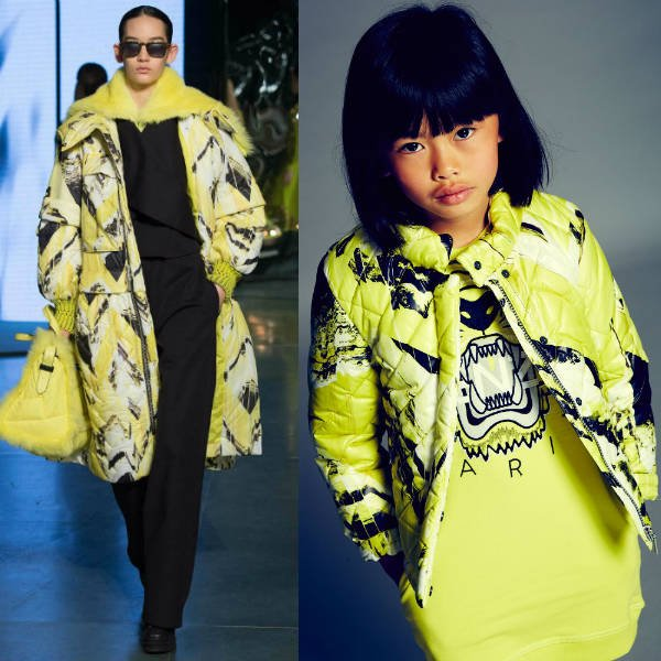29cb04a5ec18 Kenzo Girls Mini Me Lime Green Monsters Jacket