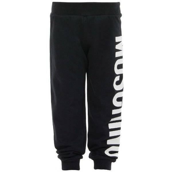 MOSCHINO KID-TEEN Black Jersey Logo Track Trousers