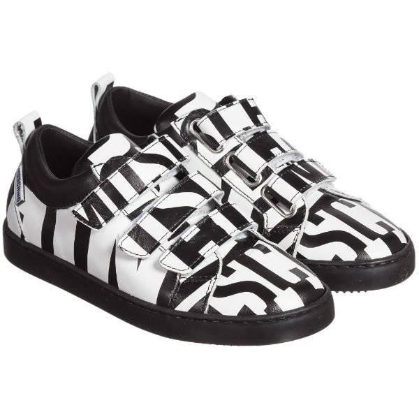 MOSCHINO KID-TEEN Black & White Leather Logo Shoes