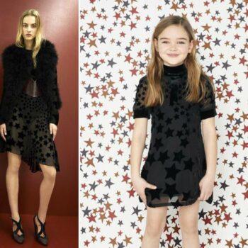 Sonia Rykiel Enfant Mini Me Girls Black Star Silk Dress Look