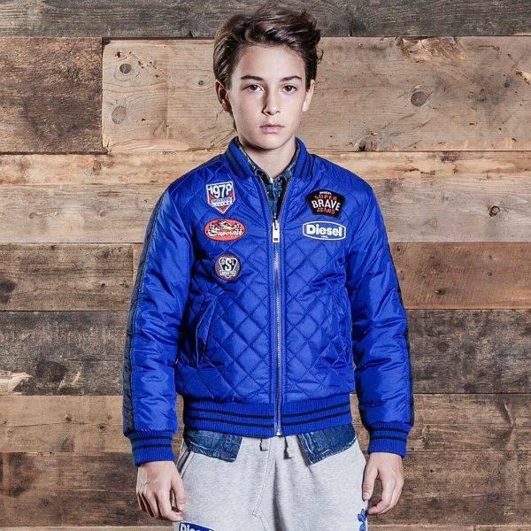 Diesel Kids Boys Blue Camo Reversible Padded Jacket