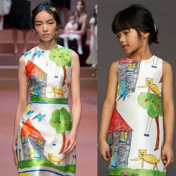 Dolce and Gabbana Girls White House Drawing Mini Me Dress