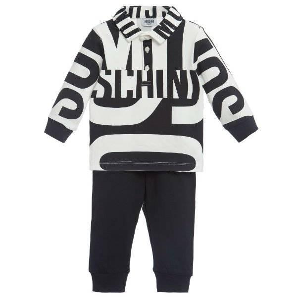 Moschino Baby Boys Black & White Logo Outfit