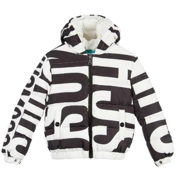 Moschino Black & White Down Padded Logo Jacket