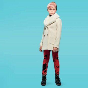 Moschino Girls Fall Winter 2015 White Coat and Red Sweatpants