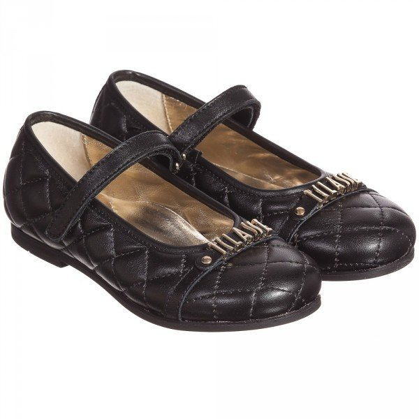 Alviero Martini Girls Black Leather Quilted Bar Shoes