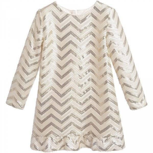 BILLIEBLUSH Ivory & Gold Sequin Zigzag Dress