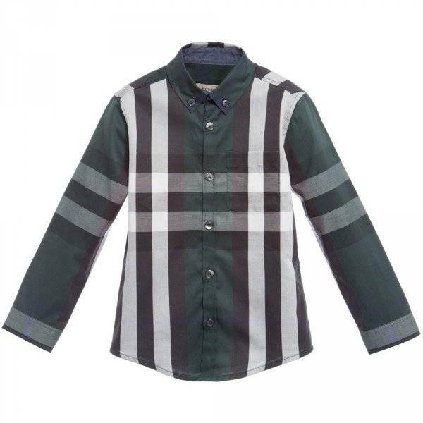 BURBERRY Boys Dark Green Checked Cotton Shirt