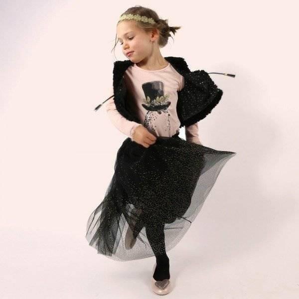 Billieblush Black Tulle Skirt & Fur Gilet
