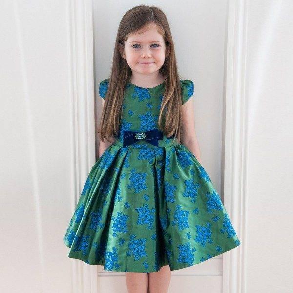 DAVID CHARLES Green & Blue Brocade Dress