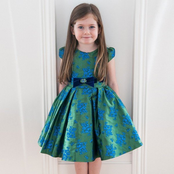 DAVID CHARLES Green & Blue Brocade Dress