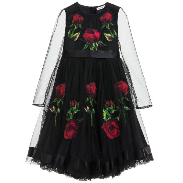 DOLCE  GABBANA Black Tulle  Silk Dress with Rose Print