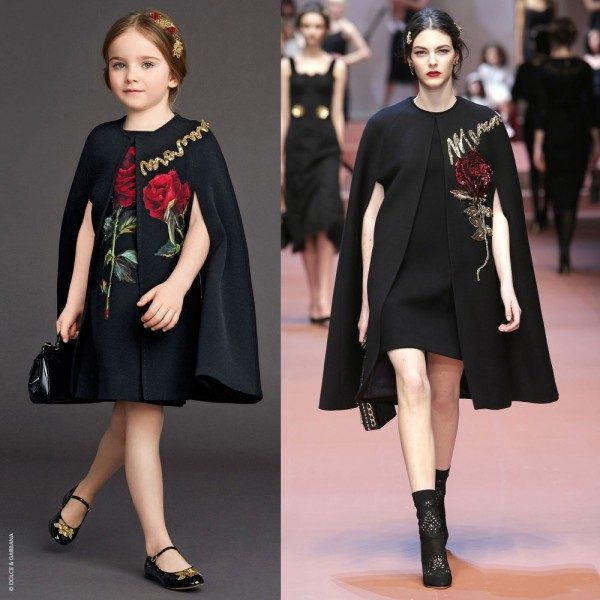 DOLCE & GABBANA Girls Black Crepe Wool Cape with Roses