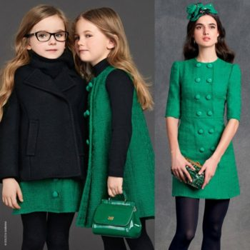 DOLCE-GABBANA-Green-Boucle-Tweed-Wool-Shift-Dress
