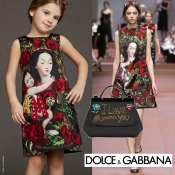 DOLCE & GABBANA Red Madonna Child Silk Brocade Dress