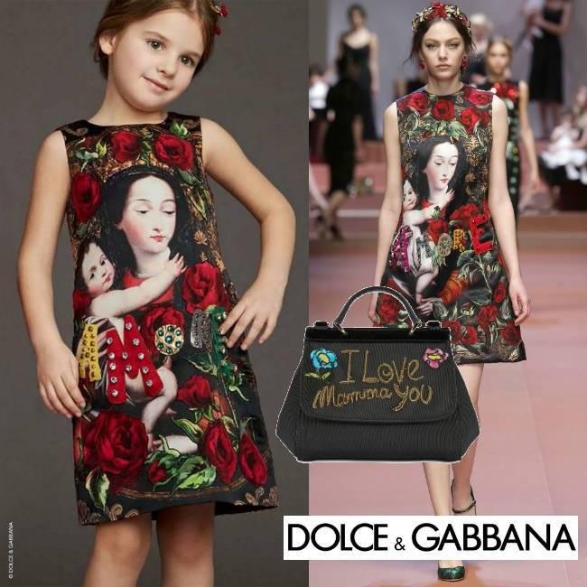 DOLCE & GABBANA Red Madonna Child Silk Brocade Dress