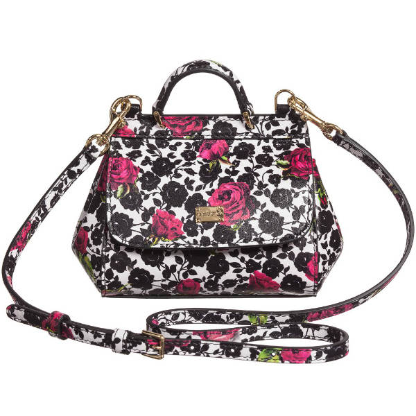 DOLCE  GABBANA Black  Pink Rose Print Leather Bag