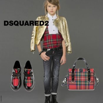 Dsquared Girls Gold Leather & Tartan Jacket