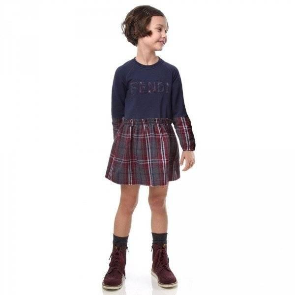 FENDI Navy Blue Tartan Trim Sweatshirt Dress
