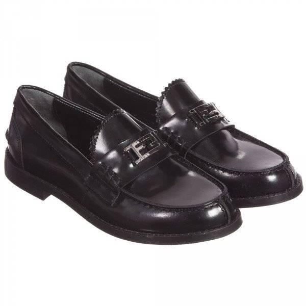 FENDI Polished Black Leather 'FF' Loafers