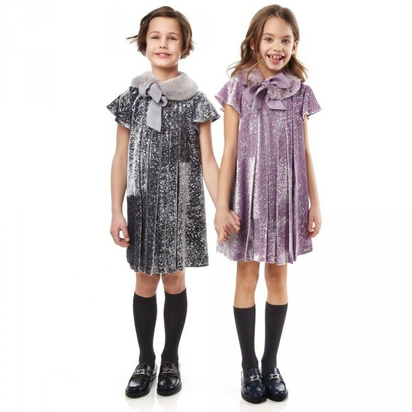 FENDI Silver Velvet Paint Splattered Dress