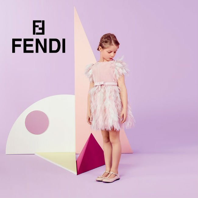 FENDI Pale Pink Silk Chiffon Feather Dress