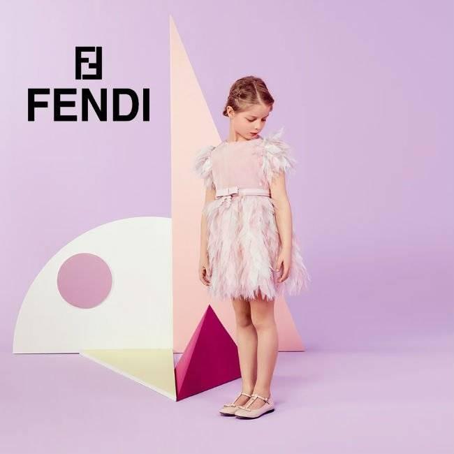 FENDI Pale Pink Silk Chiffon Feather Dress