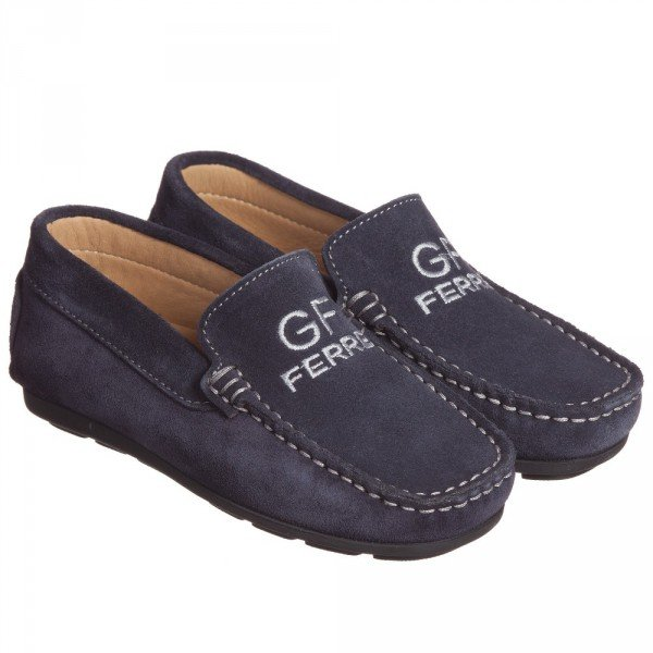 GF FERRE Boys Navy Blue Suede Moccasins Shoes