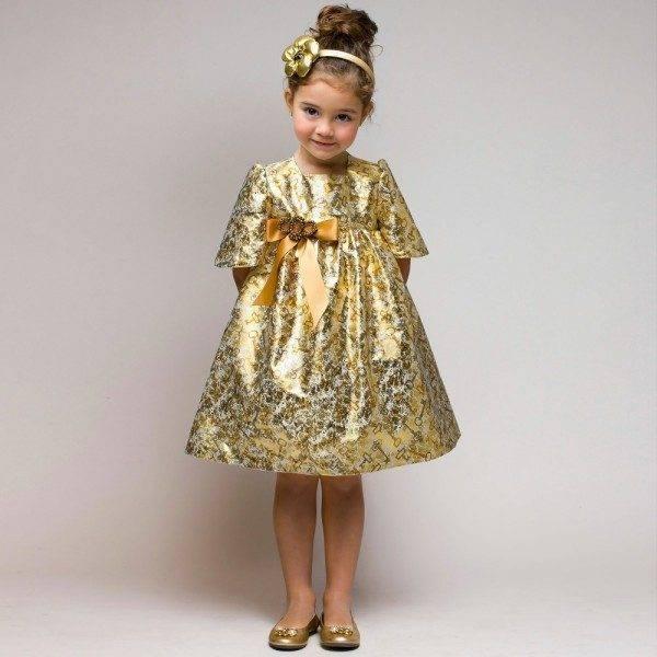 GRACI Gold 'Key' Print Dress with Jewelled Brooch