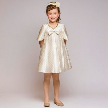 GRACI Ivory & Gold Satin Brocade Dress with Jewels