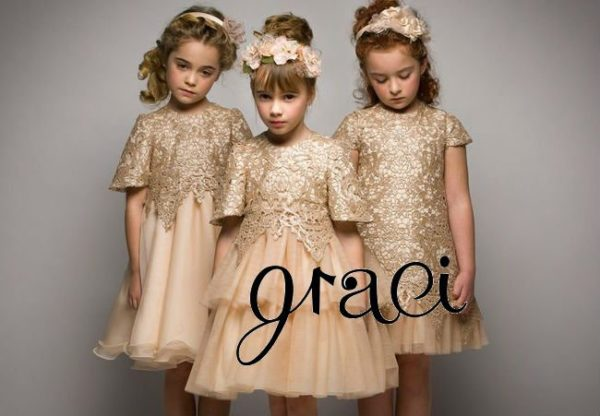 GRACI Pink Gold Sequined Tulle Dress