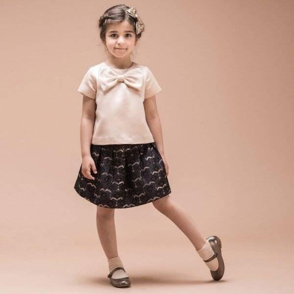 HUCKLEBONES LONDON Navy Blue Metallic Brocade Box Pleated Skirt & Pink Bow Top