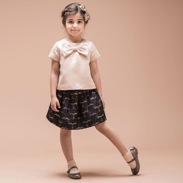 HUCKLEBONES LONDON Navy Blue Metallic Brocade Box Pleated Skirt & Pink Bow Top