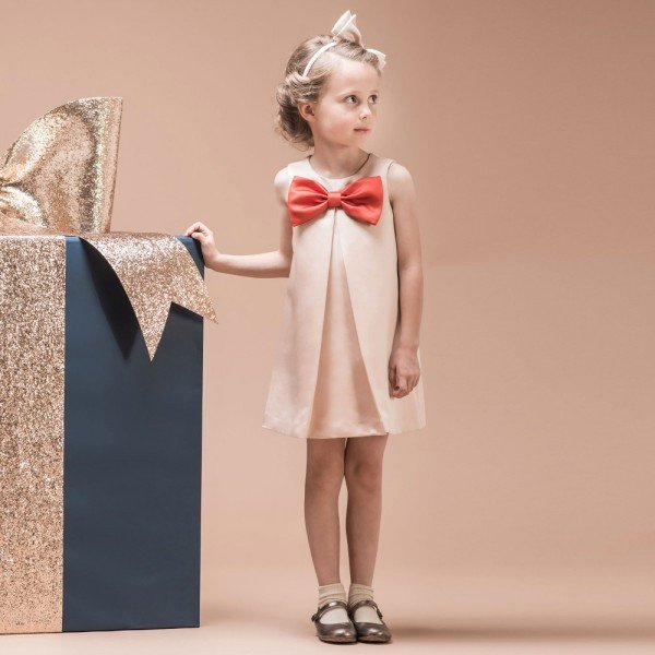 HUCKLEBONES LONDON Pale Pink Shift Dress with Giant Red Bow