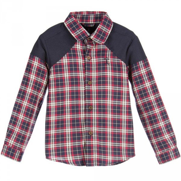 JESSIE & JAMES Boys Red & Navy Blue Checked Cotton Shirt