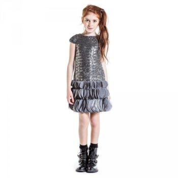 JOHN GALLIANO Silver Sequin & Chiffon 'Gazette' Trim Dress