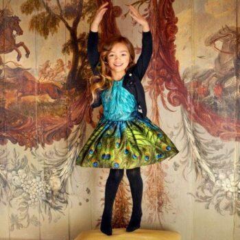 JOTTUM Green & Blue Peacock Print Cotton Dress