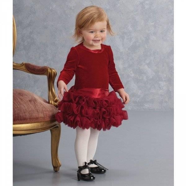 KATE MACK & BISCOTTI Red Velvet Dress with Tulle Ruffle Skirt Baby