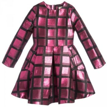 KENZO Pink Metallic Neon Check Dress