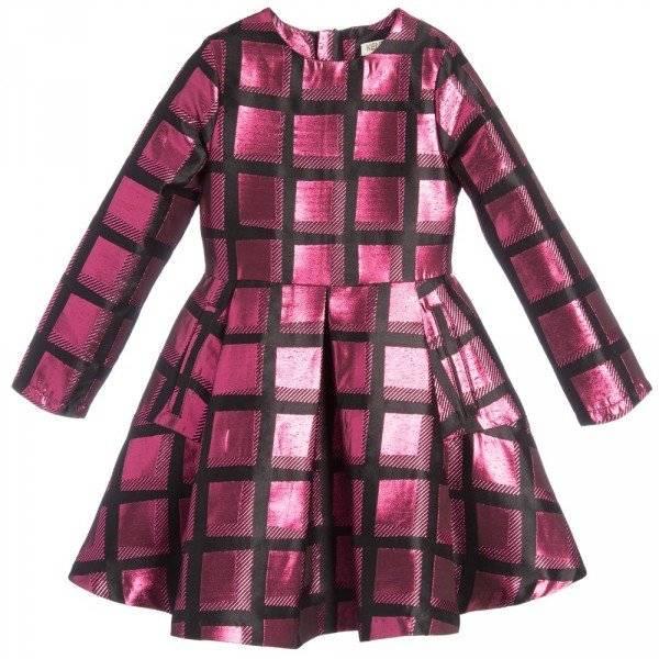 KENZO Pink Metallic Neon Check Dress