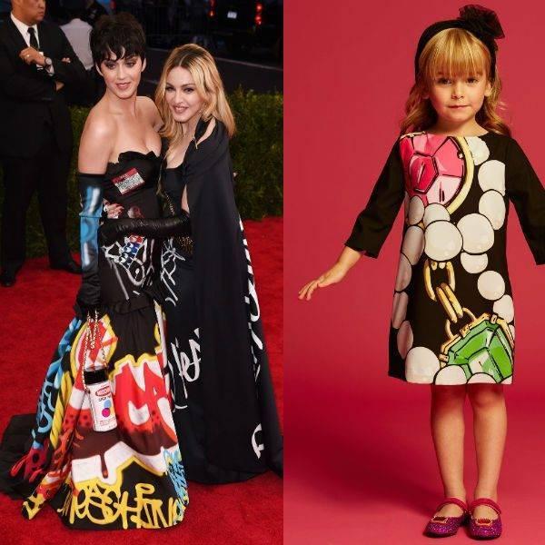 Moschino Black Crepe Mini Me Dress with Gem Print
