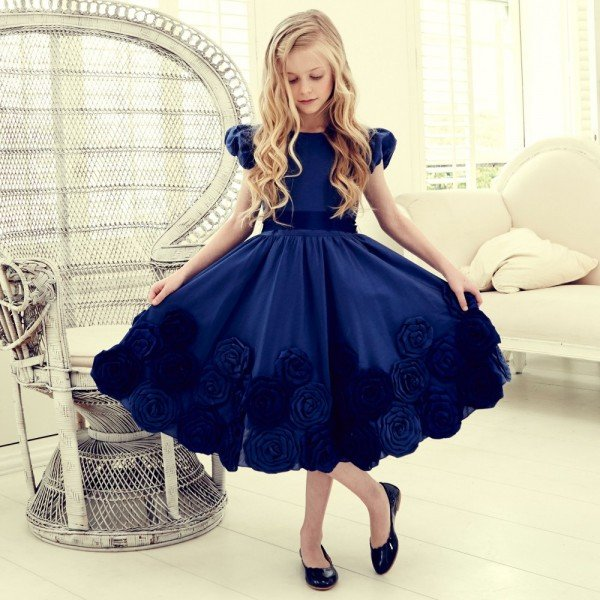 LESY LUXURY FLOWER Navy Blue Satin Dress with Tulle Roses
