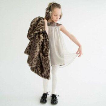LILI GAUFRETTE Bronze Dress with Snakeskin Effect Neckline