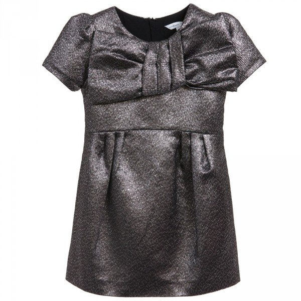 Little Marc Jacobs Silver Metallic Bow Front Dress