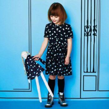 Marie-Chantal Navy Blue Silk 'Umbrella' Print DressMARIE-CHANTAL Navy Blue Silk Umbrella Print Dress