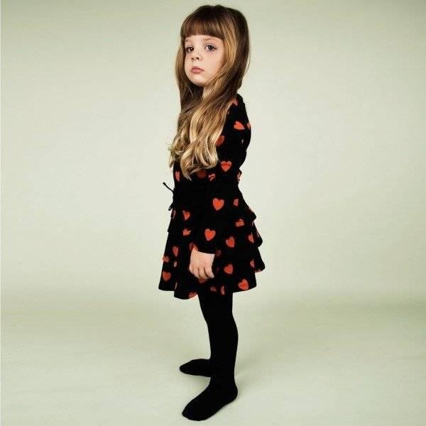 MINI RODINI Black Organic Cotton Orange Heart Dress